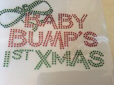 "Baby Bumps First Christmas Rhinestone Transfer Hot Fix 5.5 x 4"" Craft Post Free"