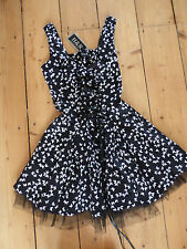 Gothic Rockabilly Steampunk Dress, Size 8, Hearts and Roses, Black butterflies