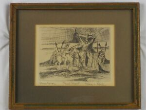 Vintage Original Trial Proof Print Crucifixion Etching by Roger L Preston Listed