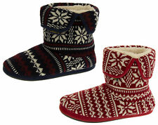 Mens Coolers Warm Faux Fur Lined Fairisle Boot Slippers Size UK 7-8, 9-10, 11-12