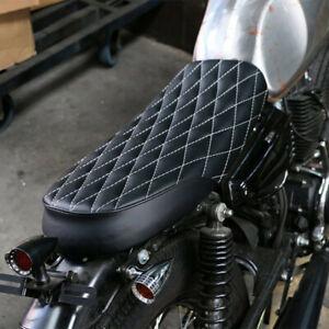 Motorcycle Black Brat SR Cafe Racer Flat Diamond Seat Saddle For Yamaha Honda AU