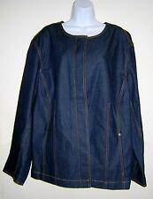 DKNY DARK DENIM BROWN STITCHING JACKET PLUS SIZE 22W NWOT WITH DAMAGE!