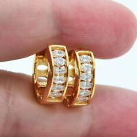 18K Yellow Gold Filled Lady Crystal Marquise Topaz Zircon Women Hoop Earrings