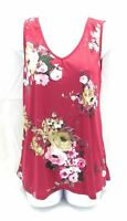Rue Juju Womens Sleeveless Top V Neck Casual Red Floral Size Small