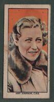 English Pilot Amy Johnson Solo Flight Britain Australia 1930s Trade Ad Card
