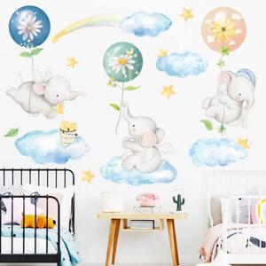 Wall Elephant Clouds Balloon Stars Sticker Baby Nursery Room Art Decal DIY Gift
