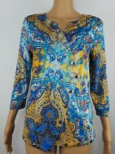 Vtg BOHO CHIC Top Blouse Sz L Embellished Paisley 3/4 Sleeve Strech Blue Yellow