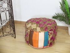 Pouf Moroccan handmade/ Pouf House Circle / Coushion from old rug / Natural wool