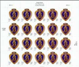 United States #3784A MNH M/S 2003 Purple Heart Medal [P1111 Pos 4]
