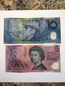 Australia 1992 $5 (#51) & $10 (#52) Currency Notes extremely Nice Specimens