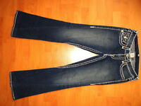 TRUE RELIGION JOEY SUPER T FLARE LOW RISE STRETCH JEANS 29 x 32.5