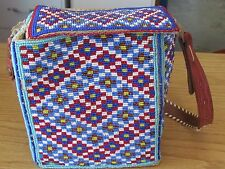 NATIVE AMERICAN BEADED FULL BEADED BAG WITH LEATHER STRAP GLORIOUS DESIGN GLITER