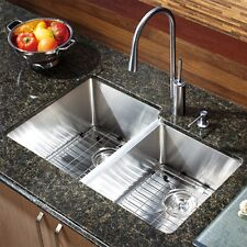 "29"" x 16"" Double Bowl Stainless Steel Hand Made Undermount Kitchen Sink COMBO"