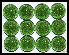 Lot of 6 TWINKLE Rd GREEN Fused Glass DICHROIC Cabochons NO HOLE Flat Back Beads