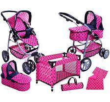 S.Toys Grande Carrozzina + Passeggino + Lettino Per Bambole Reborn Rosa Pois