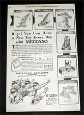 1921 OLD MAGAZINE PRINT AD, MECCANO, BOYS! YOU CAN HAVE A NEW TOY EVERYDAY, ART!