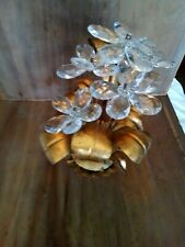 Vintage Italian Tole Planter Crystal Flowers Leaf Gold Gilt Hollywood Regency