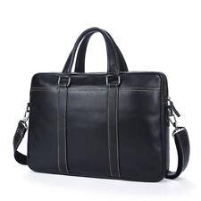 "Mens Genuine Leather Business Briefcase 15"" Laptop Bag Portfolio Cowhide Attache"
