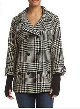 Womens Jacket Calvin Klein Plaid Button Front Coat With Sweater Sleeves $250