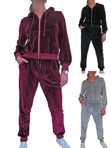 Womens Soft Velour Tracksuit Hooded Jacket and Sweatpants Loungewear Set 8-18