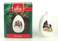 """1991 Hallmark """"Winter Surprise"""" Ornament With Box Penguins New Xmas Gift"""