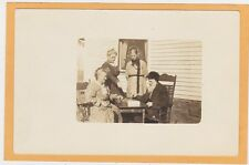 Real Photo Postcard RPPC - Elderly Couple Playing Checkers Outdoors