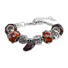 "Bracelet Size 7.5"" Lobster Claw Close Brown Murano Art Glass Silver Tone Beaded"