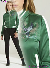 Women Ladies Satin MA1 Bomber Jacket Vintage Summer Coat Flight Army Biker Retro
