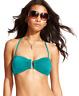 BAR III Women's Bandeau U-Bar Bikini Top with Removable Strap (Jade, Small)