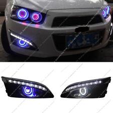 For Chevrolet Sonic Aveo 11-13 White LED DRL Daytime Day Fog Lights&Angel Eyes