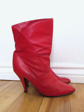 Vintage LIPSTICK RED Leather Ankle High Heel THE WILD PAIR Boots 80s Rocker sz 9