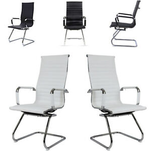 1/2pcs Kitchen Furniture Dining Chairs Faux Leather Padded Seat Metal Leg Office