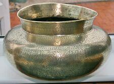 Antique Persian Arabic Islamic Damascus Cairoware Brass Jardiniere Plant Pot