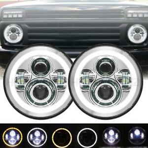 Pair 7Inch LED Headlights H4  Angel Eyes for Jeep Wrangler VW Beetle Classic