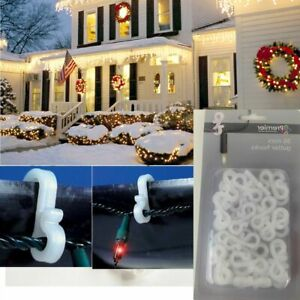 """36 Gutter Hanging Hooks """"S"""" / Clips for Christmas Xmas String Lights Outdoor"""