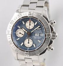 Breitling Superocean Chronograph Day-Date 42 Blue A13340 Steel Bracelet B&P