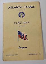 Vintage 1948 Folded Program Atlanta Lodge Rpo Elks 78 Flag Day