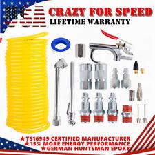 "New Listing20X Air Compressor Accessory Kit 1/4"" Npt Air Tool Set 25Ft Recoil Hose Gun Tire"