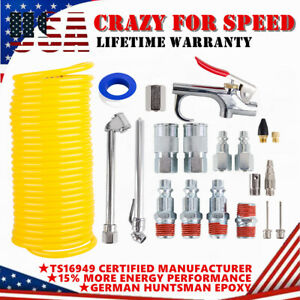 "20X Air Compressor Accessory Kit 1/4"" NPT Air Tool Set 25Ft Recoil Hose Gun Tire"