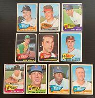 Lot of 10 1965 Topps Baseball Cards - No Duplicates - Juan Pizarro, Francona +