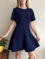 Lovely Whistles Skater Dress Uk 12 Classic Navy Blue Cute Cut Short Sleeve
