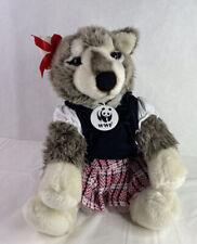 Build a Bear Gray Wolf Collectibear WWF World Wildlife Fund Grey Wearing Clothes