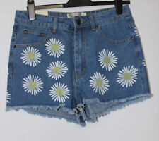 Boohoo Denim Shorts With Daisies Size 12 New With Tags