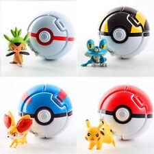 4PCS Lots Bounce Pokemon Pokeball Cosplay Pop-up Elf Go Fighting Poke Ball Toy