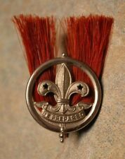 ANTIQUE 'BE PREPARED' 'BOY SCOUT' 'SCULLY LTD. MONTREAL' RED PLUME CAP BADGE