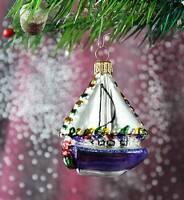Schönes kleines Segelboot, Weihnachtbaumschmuck Christbaumschmuck Lauscha 53D4