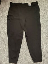 BNWT M&S Curve Smart Piped Black Elasticted Jogger Trousers Pockets Size 20 Long