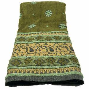 "Bath Towel Decorative 48"" Vintage Retro Green Daisy's Sculptured Gold Thread"