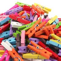100pcs 2.5cm Mini Wooden Clip Clothespins Laundry Photo Paper Pegs Art Craft