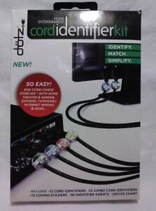 DOTZ HOME ENTERTAINMENT CORD IDENTIFIER KIT IDENTIFY BY COLOR NUMBER & TEXT NEW!